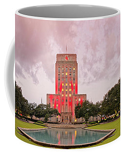 Dawn Panorama Of Houston City Hall At Hermann Square - Downtown Houston Harris County Coffee Mug