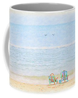 Coffee Mug featuring the digital art Day At The Beach Sun And Sand by Randy Steele