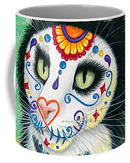 Coffee Mug featuring the painting Day Of The Dead Cat Candles - Sugar Skull Cat by Carrie Hawks