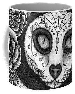 Coffee Mug featuring the drawing Day Of The Dead Cat Skull - Sugar Skull Cat by Carrie Hawks