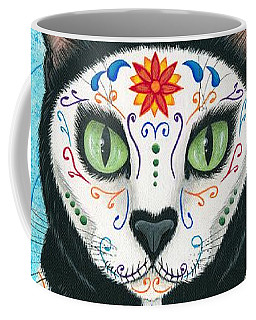 Day Of The Dead Cat - Sugar Skull Cat Coffee Mug