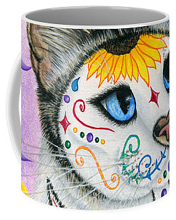Coffee Mug featuring the painting Day Of The Dead Cat Sunflowers - Sugar Skull Cat by Carrie Hawks