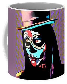 Day Of The Dead Skull Woman Wearing Top Hat Coffee Mug