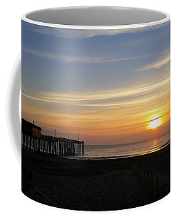 Coffee Mug featuring the photograph Daybreak At The Pier by Robert Banach