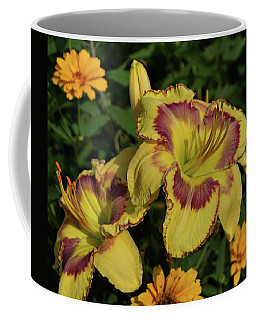 Coffee Mug featuring the photograph Daylilies And Zinnia by Sandy Keeton