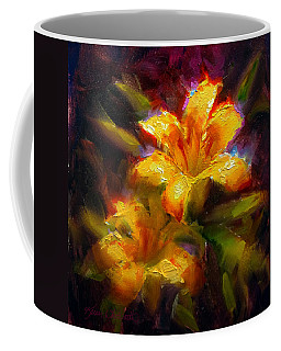 Coffee Mug featuring the painting Daylily Sunshine - Colorful Tiger Lily/orange Day-lily Floral Still Life  by Karen Whitworth