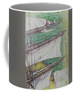 Coffee Mug featuring the drawing Days Of Sail by Mike Jeffries