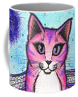Coffee Mug featuring the painting Dea Dragonfly Fairy Cat by Carrie Hawks