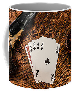 Dead Mans Hand A Gun And A Shot Of Whiskey Coffee Mug by Semmick Photo