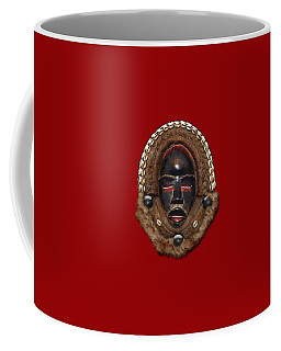 Dean Gle Mask By Dan People Of The Ivory Coast And Liberia On Red Leather Coffee Mug