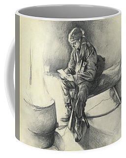 Coffee Mug featuring the drawing Letter From Home by Melinda Blackman