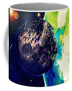 Coffee Mug featuring the drawing Death Star Two by Justin Moore