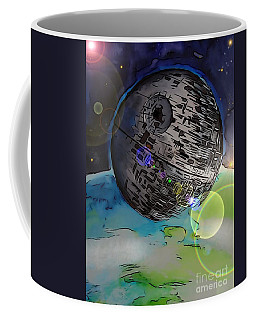 Coffee Mug featuring the drawing Deathstar Illustration by Justin Moore
