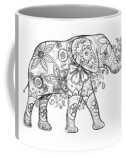 Decorated Elephant In Black And White Coffee Mug