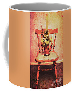 Decorated Flower Bunch On Old Wooden Chair Coffee Mug