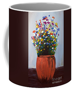 Coffee Mug featuring the painting Impressionist Wildflower Garden Painting A103017 by Mas Art Studio