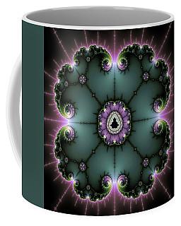 Coffee Mug featuring the digital art Decorative Fractal Art Purple And Green by Matthias Hauser
