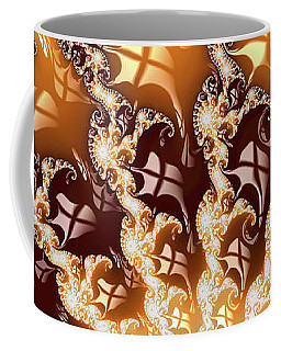 Decorative Luxe Fractal Art Golden And Brown Coffee Mug by Matthias Hauser