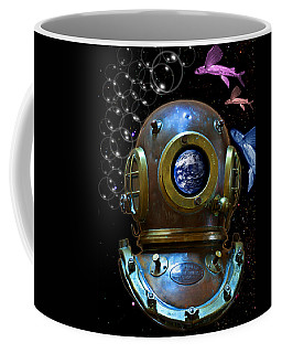 Deep Diver In Delirium Of Blue Dreams Coffee Mug by Pedro Cardona