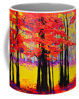 Coffee Mug featuring the painting Deep Within - Enchanted Forest Collection - Modern Impressionist Landscape Art - Palette Knife by Patricia Awapara