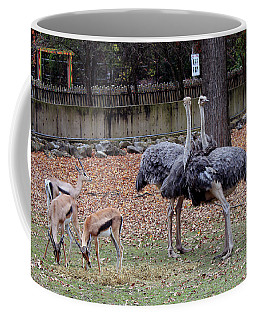 Deer And Ostriches Coffee Mug by Suhas Tavkar