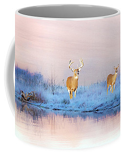 Deer At Winter Pond Coffee Mug