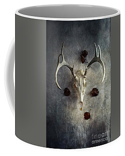 Deer Buck Skull With Fallen Leaves Coffee Mug by Stephanie Frey