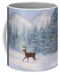 Deer In The Snow Coffee Mug