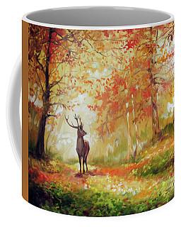 Deer On The Wooden Path Coffee Mug
