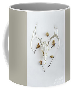 Deer Skull With Antlers And Roses Coffee Mug by Stephanie Frey