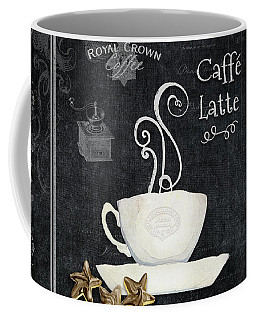 Coffee Mug featuring the painting Deja Brew Chalkboard Coffee 2 Caffe Latte Shortbread Chocolate Cookies by Audrey Jeanne Roberts