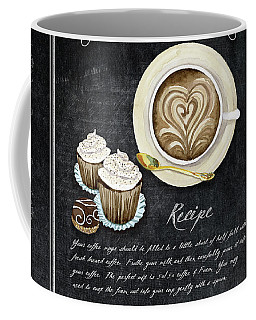 Coffee Mug featuring the painting Deja Brew Chalkboard Coffee 3 Cappuccino Cupcakes Chocolate Recipe  by Audrey Jeanne Roberts