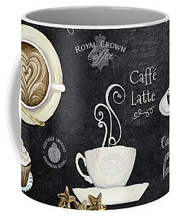 Coffee Mug featuring the painting Deja Brew Chalkboard Coffee Cappuccino Mocha Caffe Latte by Audrey Jeanne Roberts