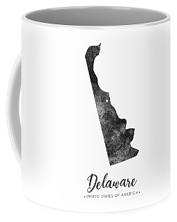 Delaware State Map Art - Grunge Silhouette Coffee Mug