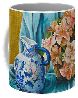 Delft Pitcher With Flowers Coffee Mug by Marlene Book