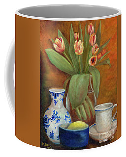 Delft Vase And Mini Tulips Coffee Mug by Marlene Book