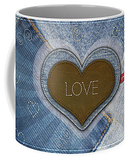 Denim Valentines Card Coffee Mug