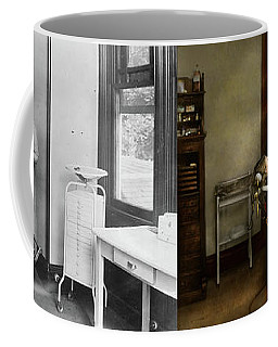 Coffee Mug featuring the photograph Dentist - Patients Is A Virtue 1920 - Side By Side by Mike Savad