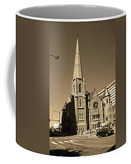 Coffee Mug featuring the photograph Denver Downtown Church Sepia by Frank Romeo