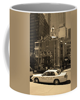 Coffee Mug featuring the photograph Denver Downtown With Yellow Cab Sepia by Frank Romeo