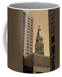 Coffee Mug featuring the photograph Denver - Historic D F Clocktower 2 Sepia by Frank Romeo