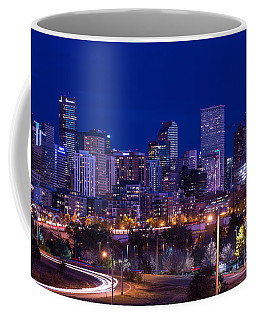 Denver Skyline At Night - Colorado Coffee Mug