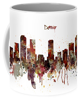 Coffee Mug featuring the mixed media Denver Skyline Silhouette by Marian Voicu