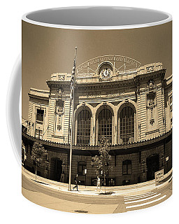Coffee Mug featuring the photograph Denver - Union Station Sepia 5 by Frank Romeo