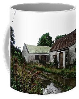 Coffee Mug featuring the photograph Derelict Cottage In The Rain by Stephanie Moore