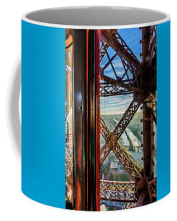 Descending In The Lift Of The Eiffel Tower, Paris. France. Coffee Mug