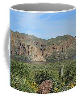 Coffee Mug featuring the digital art Desert Flora Over Canyon Lake by Lynda Lehmann