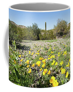 Coffee Mug featuring the photograph Desert Flowers And Cactus by Ed Cilley