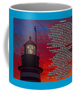 Desiderata And West Quoddy Head Lighthouse Coffee Mug by Marty Saccone
