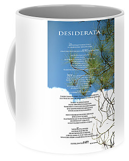 Desiderata Poem Over Sky With Clouds And Tree Branches Coffee Mug